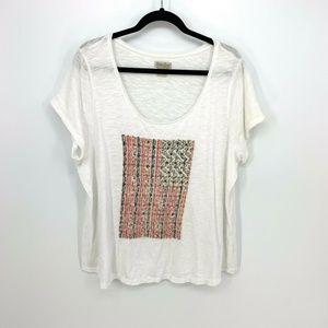 Lucky Brand US Flag Stitch Short Sleeve Tee Shirt